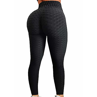 Women's High Waist Yoga Pants Jacquard Ruched Butt Lifting Fashion Purple Red Dusty Rose Dark Black Pink Spandex Running Fitness Gym Workout Tights Leggings Sport Activewear Push Up Tummy Control