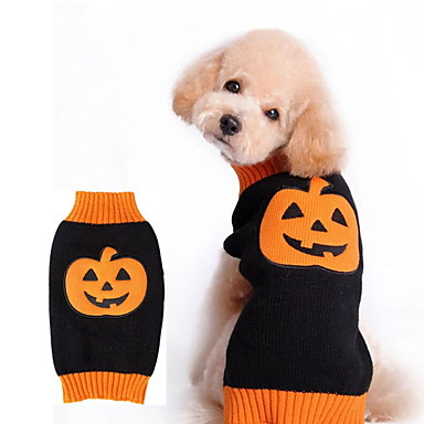 cheap Dog Clothes-Dog Halloween Costumes Sweater Pumpkin Holiday Halloween Winter Dog Clothes Orange Costume Polyster XXS XS S M L XL