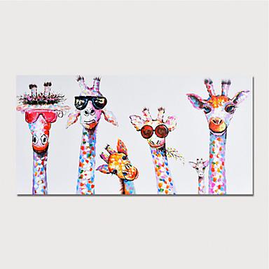 povoljno Ukrašavanje zidova-Hang oslikana uljanim bojama Ručno oslikana - Životinje Moderna Uključi Unutarnji okvir
