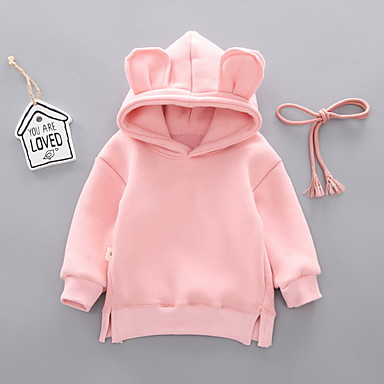 preiswerte Kapuzenpullover & Sweatshirts für Babys-Baby Mädchen Street Schick Solide Langarm Kapuzenpullover Rosa