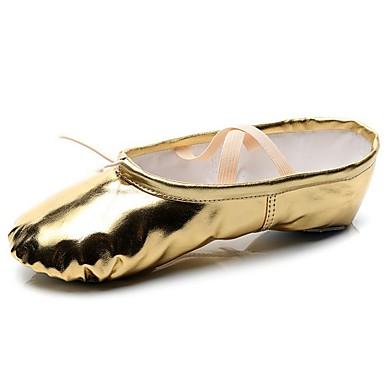 preiswerte Tanzschuhe für Kinder-Damen / Mädchen Tanzschuhe Lackleder Balletschuhe Flach, Ballerina Flacher Absatz Gold / Silber