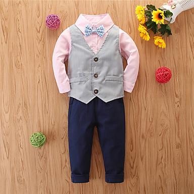 povoljno Odjeća za dječake-Djeca Dječaci Aktivan Osnovni Zabave Dnevno Jednobojni Mašna Dugih rukava Kratka Komplet odjeće Blushing Pink