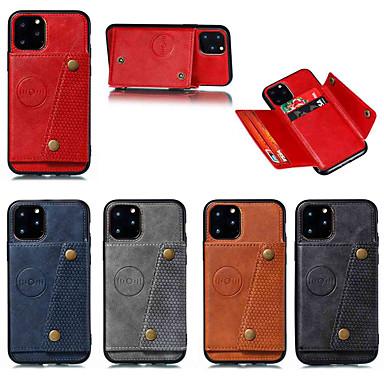 povoljno Apple oprema-etui za jabuke iphone 11 / iphone 11 pro / iphone 11 pro max držač za karticu / sa stražnjim poklopcem jednobojna koža dvostruko dugme pu koža za iphone x / xs / xr / xs max / 8 plus / 6s plus