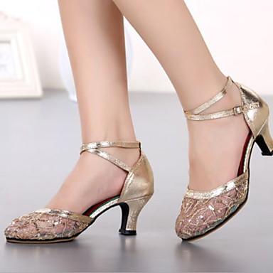 billige Utvalgte tilbud-Dame Dansesko Netting Moderne sko Høye hæler Kubansk hæl Svart / Gull / Sølv / Ytelse