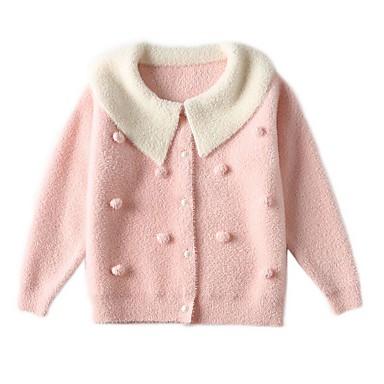halpa Tyttöjen neulepaidat ja -takit-Lapset Tyttöjen Perus Color Block Pitkähihainen Villapaita ja neuletakki Punastuvan vaaleanpunainen