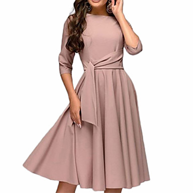 cheap New Arrivals-Women's Daily Basic Sheath Swing Dress - Solid Colored Green Beige S M L XL