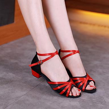 preiswerte Tanzschuhe für Kinder-Damen / Mädchen Tanzschuhe Satin / Kunststoff Schuhe für den lateinamerikanischen Tanz / Schuhe für modern Dance Pailetten Absätze Starke Ferse Schwarz und Gold / Schwarz / Rot / Gold