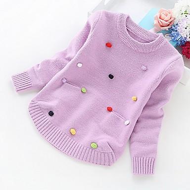 tanie Swetry i kardigany dla dziewczynek-Dzieci Dla dziewczynek Podstawowy Solidne kolory Długi rękaw Sweter i kardigan Fioletowy