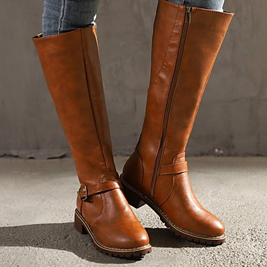 cheap Women's Boots-Women's Boots Knee High Boots Cowboy Western Boots Low Heel Round Toe Classic Vintage Daily Buckle Solid Colored Leather Knee High Boots Winter Black / Yellow / Brown
