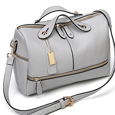 povoljno Tote torbe-Žene Patent-zatvarač Kravlja koža Torba s ručkom Jedna barva Crn / Blushing Pink / Svjetlo siva