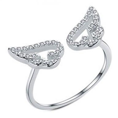 billige Motering-Dame Ring 1pc Sølv Gul Rose Gull Kobber Sirkelformet Grunnleggende Koreansk Mote Gave Smykker Englevinger Smuk