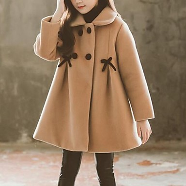 cheap Winter Outerwear-Kids Girls' Basic Solid Colored Trench Coat Blushing Pink