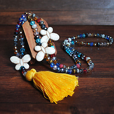 cheap Necklaces-Women's Pendant Necklace Necklace Long Butterfly Vintage Trendy Ethnic Fashion Cord Stone White Black Yellow Red Pink 90 cm Necklace Jewelry 1pc For Daily Holiday School Street Festival