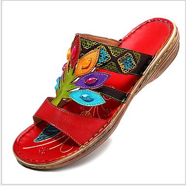 voordelige Damespantoffels & slippers-Dames Slippers & Flip-Flops Platte hak Ronde Teen PU Zomer Paars / Oranje / Blauw