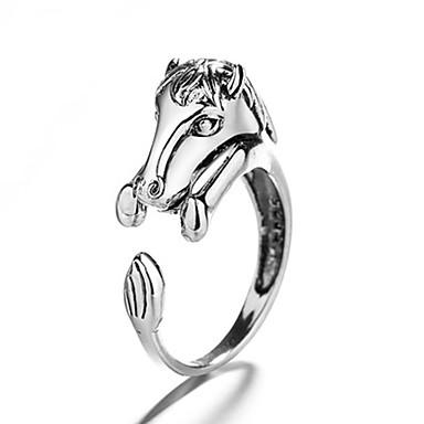 voordelige Herensieraden-Heren Dames Ring 1pc Zilver Koper Cirkelvormig Vintage Standaard Modieus Festival Sieraden Paard Paardenkop Dier Cool Schattig