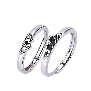 levne Dámské šperky-Pro páry Snubní prsteny Prsten 1ks Bílá Stříbrná Měď Kulatý Základní korejština Módní Dar Slib Šperky