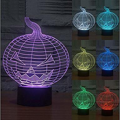 3d νυχτερινό φως 7 χρώματα ψευδαίσθηση αλλαγή αποκριές ακρυλικό κολοκύθα usb οδήγησε λάμπα κρεβατοκάμαρα κόμμα κόμμα για παιδιά αγόρια κορίτσια φίλους καλύτερα δώρα