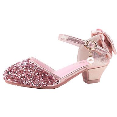 저렴한 아동 샌달-여아 노블티 / 플라워 걸 신발 PU 샌들 어린 아이들 (4-7ys) 워킹화 리본장식 슬리버 / 핑크 가을 / 겨울 / 고무