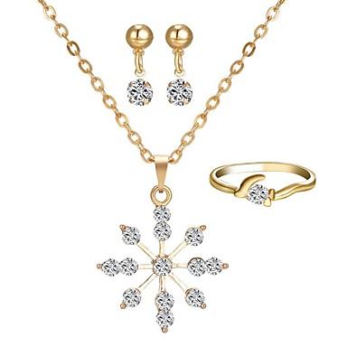 voordelige Dames Sieraden-Dames Druppel oorbellen Ketting Ring Sneeuwvlok Eenvoudig Klassiek oorbellen Sieraden Goud Voor Dagelijks 1 set