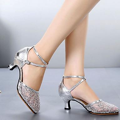 preiswerte Tanzschuhe-Damen Tanzschuhe Gitter Schuhe für modern Dance Absätze Kubanischer Absatz Schwarz / Gold / Silber / Leistung