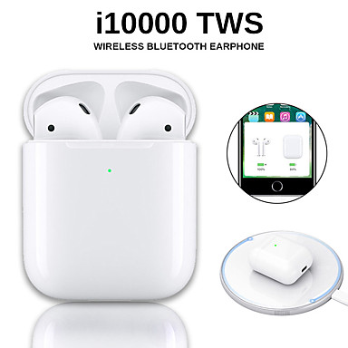 Original i10000 TWS Wireless Earbuds Bluetooth 5.0 Earphone Touch Control Portable Sport Headset Wireless QI Charge Inear Check Automatic Ear Detection Play and Pause Pop-up Window with IOS