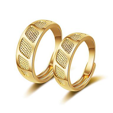 levne Dámské šperky-Pro páry Snubní prsteny Prsten 1ks Zlatá Růžové zlato Měď Kulatý Vintage Základní Módní Festival Šperky