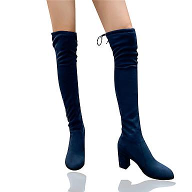 voordelige Dameslaarzen-Dames Laarzen Blokhak Ronde Teen Satijn Over de knie laarzen Klassiek / minimalisme Winter / Herfst winter Zwart / Luipaard / Marine Blauw