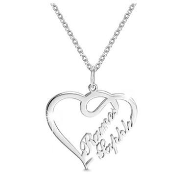 preiswerte Gravierte Halsketten-Personalisiert Angepasst Halskette Herz Geschenk Alltag Festtage Heart Shape 1pcs Silber / Laser Gravur
