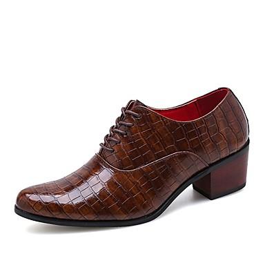 Homens Sapatos formais Couro Ecológico Primavera Verão / Outono & inverno Casual / Formais Oxfords Aumento de altura Preto / Marron / Festas & Noite