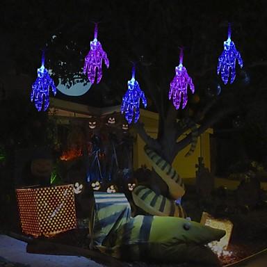 αποκριές κλωστή φώτα 1m 10 οδήγησε τρομακτικό σκελετό χέρι αποκριές φώτα διακόσμηση μπαταρία τροφοδοτείται φώτα σειρά για πάρτι αίθριο εσωτερική υπαίθρια μπλε