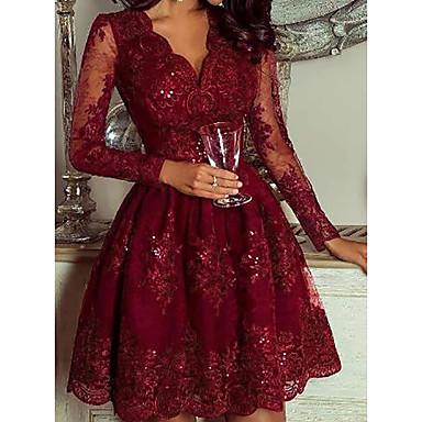 cheap New Arrivals-Women's Daily Wear Elegant A Line Dress - Geometric Deep V Wine M L XL XXL