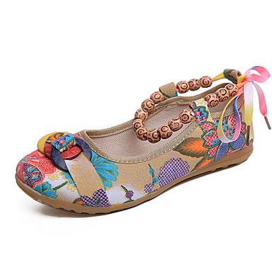 levne Dámské boty s plochou podrážkou-Dámské Bez podpatku Rovná podrážka Oblá špička Len Léto Zelená