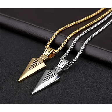 cheap Pendant Necklaces-Men's Pendant Necklace Geometrical Vertical / Gold bar Fashion Titanium Steel Gold Silver 70 cm Necklace Jewelry 1pc For Daily Work