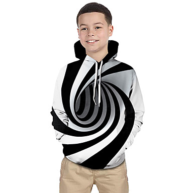 cheap Top Sellers-Kids Toddler Boys' Active Basic Black & White Fantastic Beasts Striped Geometric Print Print Long Sleeve Hoodie & Sweatshirt White