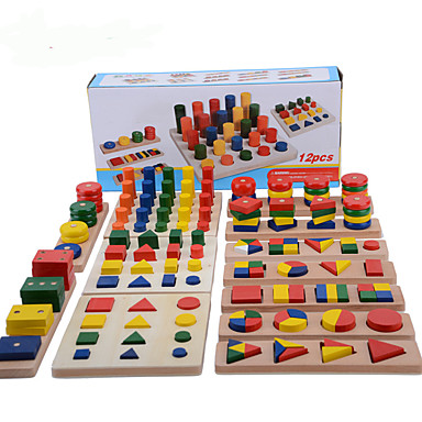 cheap Math Toys-Montessori Teaching Tool Pegged Puzzle Math Toy 8-14 pcs compatible Wooden Legoing Cool Education Boys' Girls' Toy Gift / Kid's / Develop Creativity