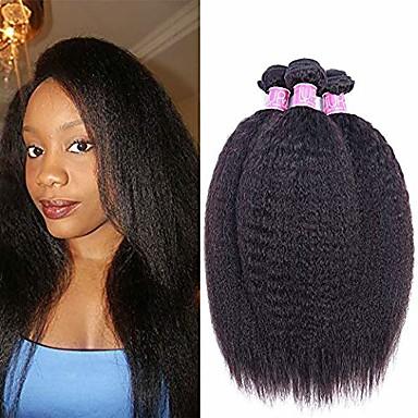 povoljno Ekstenzije od ljudske kose-3 paketa Brazilska kosa Yaki Straight Virgin kosa 100% Remy kose tkanja Bundle Ljudske kose plete Produžetak Bundle kose 8-28 inch Natural Isprepliće ljudske kose Kreativan Najbolja kvaliteta Cool