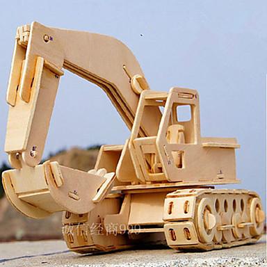 levne 3D puzzle-Autíčka 3D puzzle Puzzle Bagr Udělej si sám Dřevěný Klasické Stavební stroj Dětské Hračky Dárek