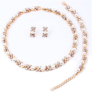 levne Dámské šperky-Dámské Sady šperků Peckové náušnice Pearl přediva dámy Elegantní Perly Umělé diamanty Náušnice Šperky Růžové zlato / Bílá Pro Svatební Párty Výročí Narozeniny Gratulace Děkuji / İnci Kolyeler