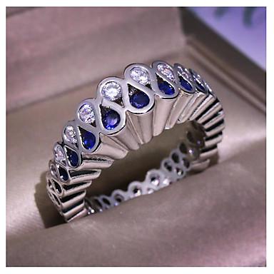 billige Motering-Dame Ring Syntetisk safir 1pc Sølv Kobber Geometrisk Form Mote Gave Daglig Smykker geometriske Blomst Kul