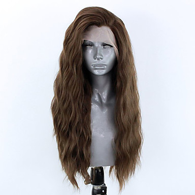cheap Synthetic Lace Wigs-Synthetic Lace Front Wig Wavy Side Part Lace Front Wig Long Chestnut Brown Synthetic Hair 18-26 inch Women's Adjustable Heat Resistant Party Brown