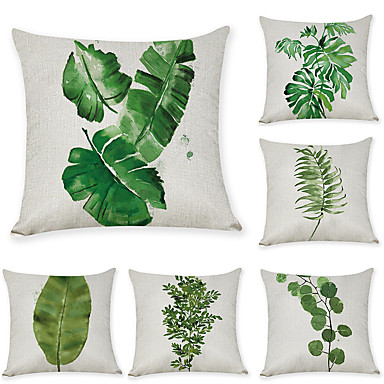 cheap Pillow Covers-Set of 6 Linen Pillow Cover, Leaf Graphic Prints Leisure Fashion Throw Pillow