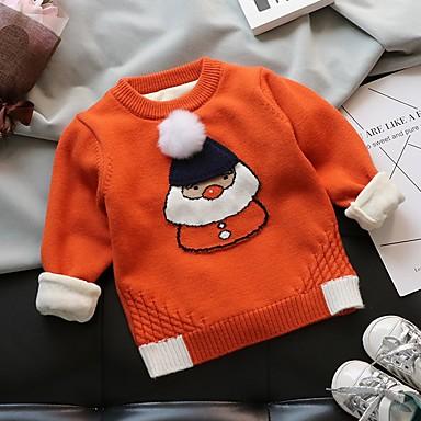 povoljno Odjeća za dječake-Djeca Dječaci Ulični šik Print Božić Dugih rukava Džemper i kardigan žuta