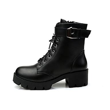 voordelige Dameslaarzen-Dames Laarzen Blok hiel Ronde Teen PU Herfst winter Zwart