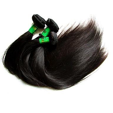 """povoljno Ekstenzije od ljudske kose-4 paketića 6 paketića Indijska kosa Ravan kroj Virgin kosa Remy kosa Ljudske kose plete 10""""~30"""" Natural Isprepliće ljudske kose Prirodno Najbolja kvaliteta Za crnkinje Proširenja ljudske kose"""