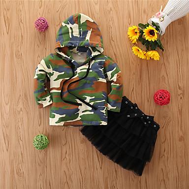 povoljno Odjeća za bebe-Dijete Djevojčice Ležerne prilike Print Dugih rukava Regularna Normalne dužine Pamuk Komplet odjeće Vojska Green / Dijete koje je tek prohodalo