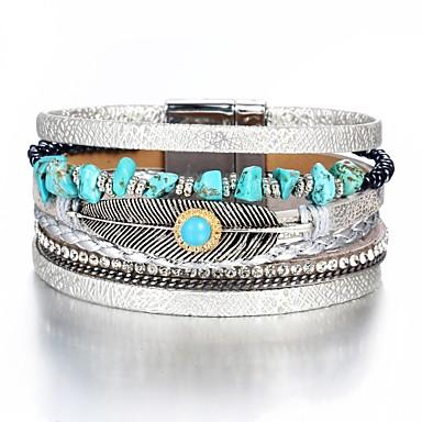 levne Pánské šperky-Pánské Dámské Kožené náramky Klasika Peří Módní Lidová Style PU Náramek šperky Stříbrná Pro Dar Denní Práce