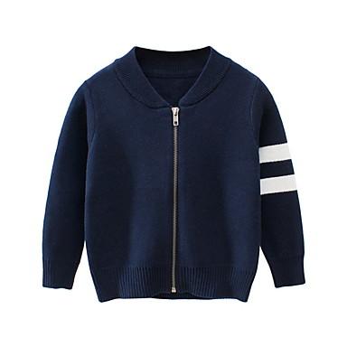 povoljno Odjeća za dječake-Djeca Dječaci Ulični šik Prugasti uzorak Pamuk Džemper i kardigan Navy Plava