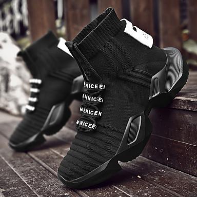 preiswerte Herren Turnschuhe-Herrn Komfort Schuhe Gitter Frühling / Herbst Freizeit Sneakers Walking Stoßdämpfend Slogan Schwarz / Schwarz und weiss / Weiß