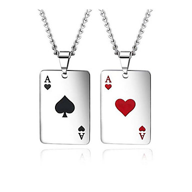 voordelige Herensieraden-Heren Hangertjes ketting meetkundig Poker Vintage Titanium Staal Zwart Rood 60 cm Kettingen Sieraden 1pc Voor Lahja Dagelijks