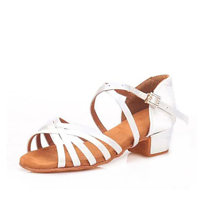 저렴한 아이용 댄스 신발-여아 댄스 신발 새틴 라틴 슈즈 크리스탈 디테일 힐 두꺼운 발 뒤꿈치 주문제작 가능 블랙 / 브라운 / 화이트